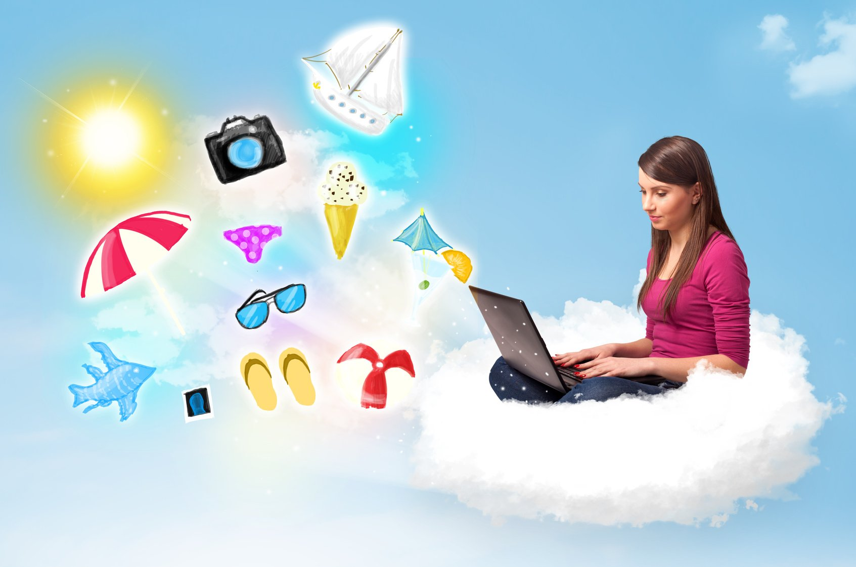 Young businessman sitting in cloud with laptop